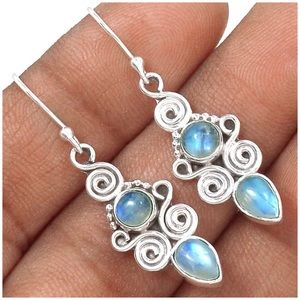 .925S Sterling Silver Rainbow Moonstone Earrings
